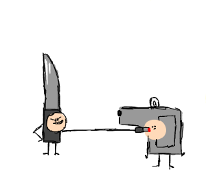 Knife stabs gun