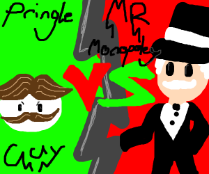 The pringle guy fighting mr monopoly