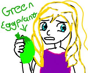 women with green egglplants