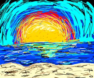 a peaceful beach in a sunset (or sunrise)