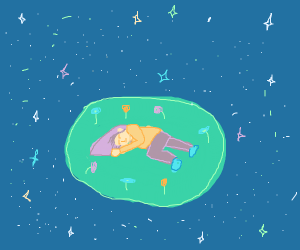 girls sleeps on floating island in space