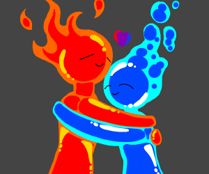 Fire and Water hugging