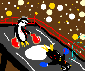 Penguin ring fight!
