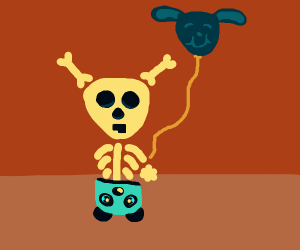 Skele-bunny w panda onesie and happy balloon