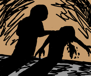 Shadow man vomiting next to other shadow man
