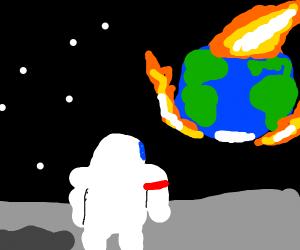 Astronaut Watches the World Burn