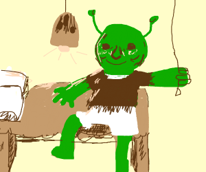 Shrek goes to bed