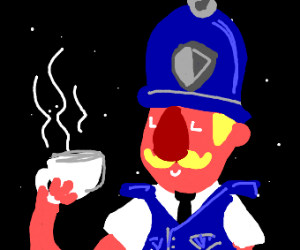 British police drinking tea in space time