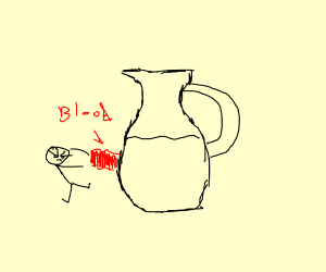 angry stickman pushing a jug with blood