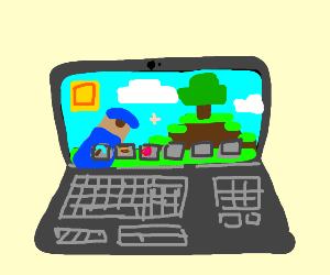 Laptop with Minecraft on