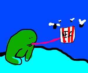 frog eating KFC