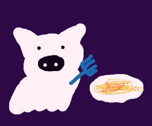 Happy ghostly pig eating spaghetti