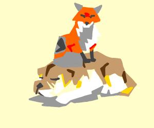 Fox sitting on a dog