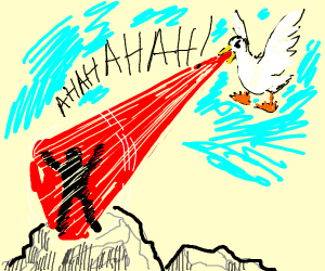flying white duck beaming a guy on a mountain