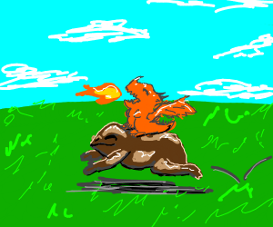 Tiny fire breathing dragon rides toad