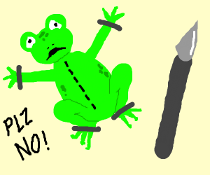 Frog begs not to be cut open for science.