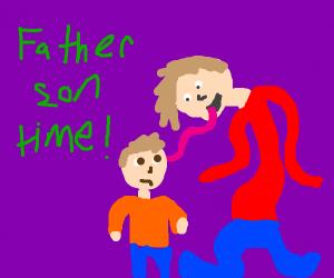 tall man licks son