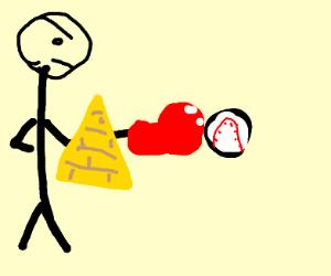 Man hitting a baseball through a pyramid