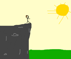 someone standing on a cliff looking at sun