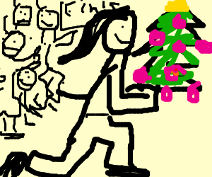 Girl wins the race with christmas ornaments