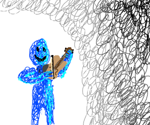 blue scribble playing violin