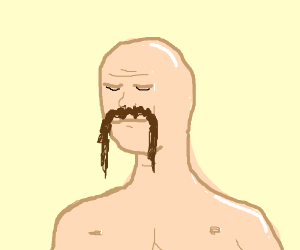 Bald man with very long and bushy mustache