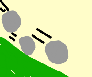 rocks tumbling down a hill