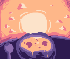 Bowl of soup cries to the sun