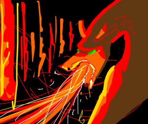 Dragon burning down a forest