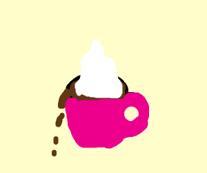 Fancy whipped cream on coffee