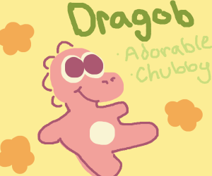 Adorable chubby dragon who is named Dragob