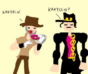 Joseph shows donut to joot calling it kakyoin