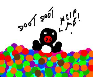 Pingu drowning in balls