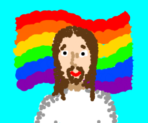 Jesus With The Gay Flag