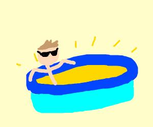 man in sun pool