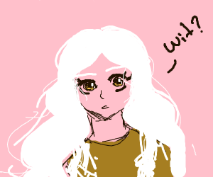 """girl with white hair says """"wit"""""""