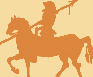 Silhouet of a knight on a horse