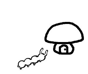 a caterpillar in a mushroom house