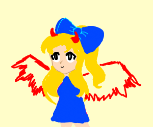 girl with giant bow and devil wings and horns