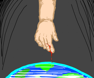 Man bleeding on planet