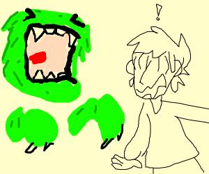 Green Monster Scares man