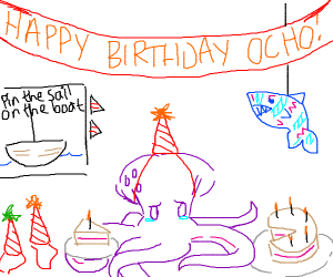 octopus sad no one came to its birthday party