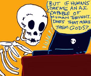 Skeleton on laptop reading deeeep stuff