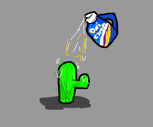 A cactus being rained on by oxi clean