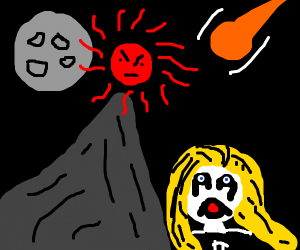 Meteor crashing into mountain