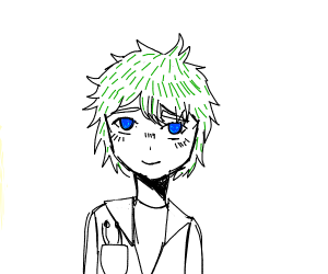 Doctor w/ green hair & blue eyes