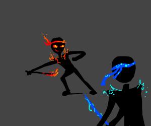 Fire ninja faces off against water ninja