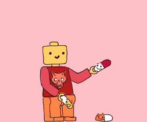 A lego dog man looking at pills with faces
