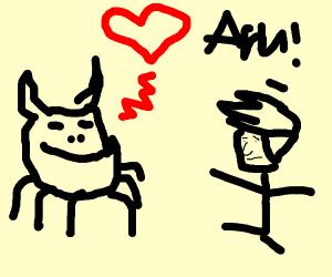 giant monster loving a scared man