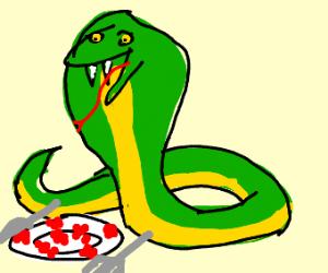Cobra eating Raspberries